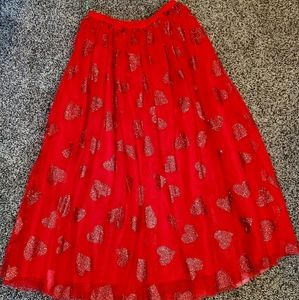RED GLITTERY HEARTS TULLE SKIRT